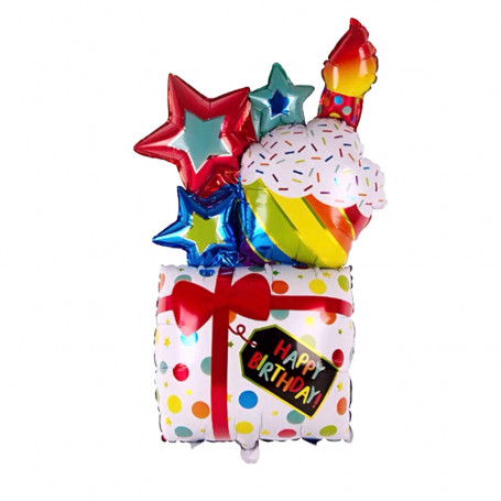 Happy Birthday present ballong XL