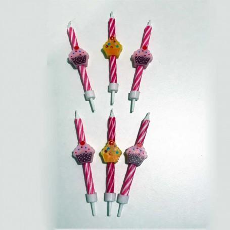 Tårtljus i form av cupcakes 6-pack