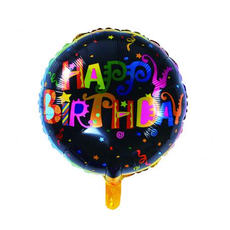 Happy Birthday folieballong svart