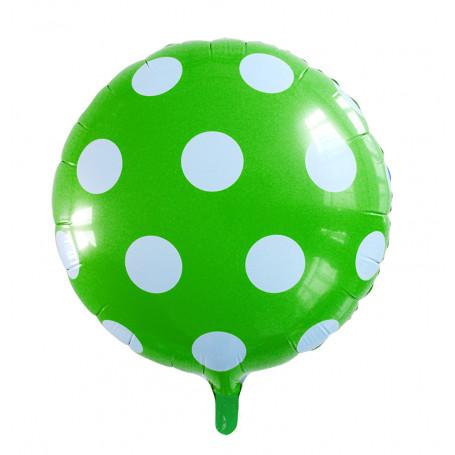 Folieballong prickig grön och vita