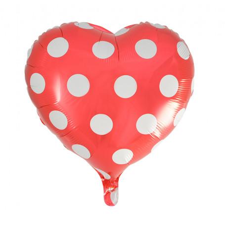 röd och vit prickig hjärtformad folieballong