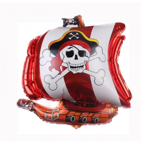Piratskepp folieballong i röd och vit med dödskallar