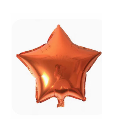 Stjärna orange folieballong 45 cm