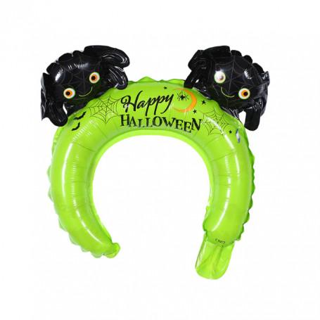 Halloween diadem ballong i grön med spindlar och texten happy halloween