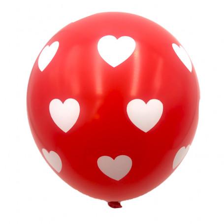 Röda ballonger med vita hjärtan 10P