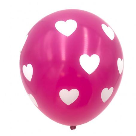Fuchsia ballonger med vita hjärtan 10P