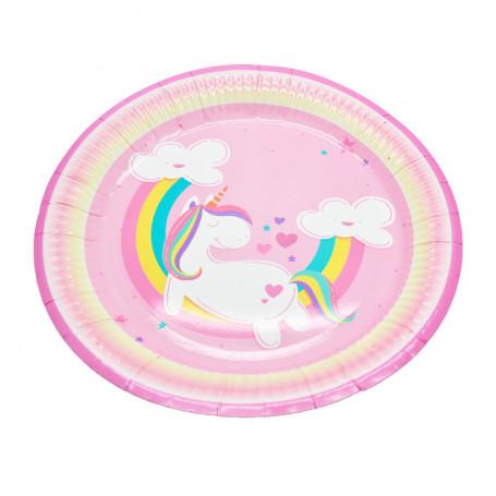 Rosa papperstallrik med en vit unicorn och regnbåge.