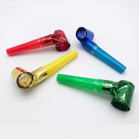 4 blåsutrullar i färgerna röd, blå, grön och gul