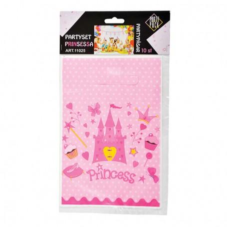 Godispåse i rosa plast med ett slott.