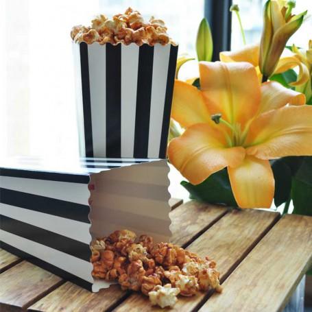 Popcornboxar svart och vit randiga födelsedagsfest, filmkväll eller babyshower papper