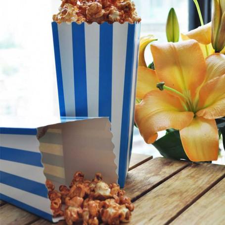 Popcornbägare blå och vit-randiga.