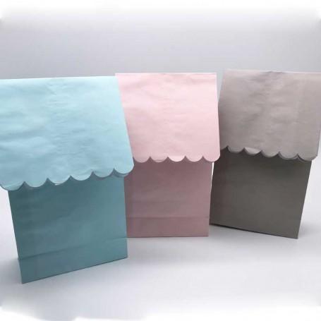 3 st godispåsar i färgerna blått, rosa och grått