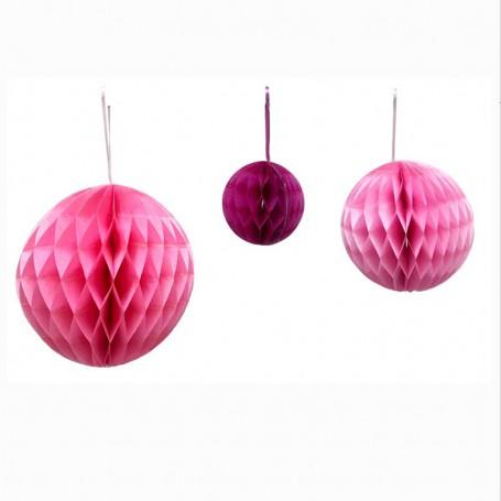 Dekorations bollar rosa 3-p