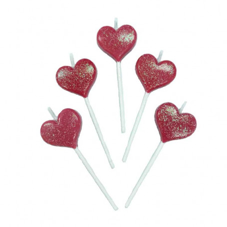 Tårtljus i form av Hjärtan 5-p