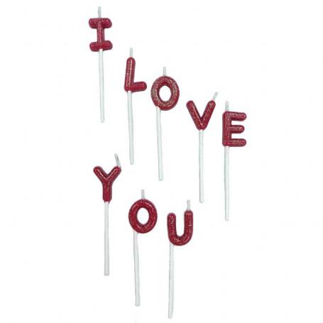 I Love You tårtljus 8-p