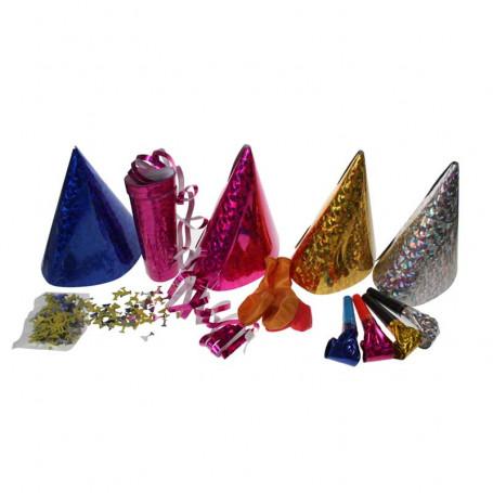 partyhattar, blåsutrullar, serpentiner och konfetti i olika färger