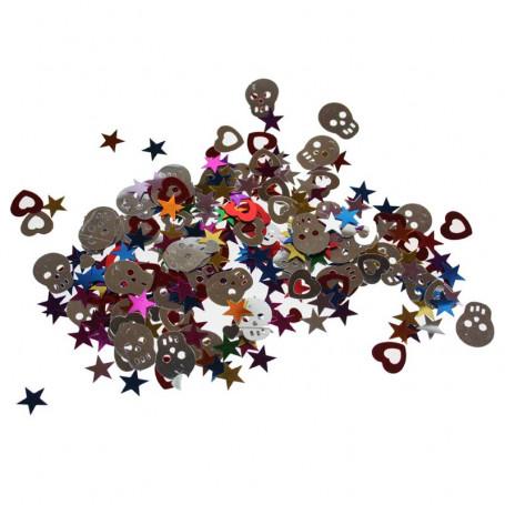 Bordskonfetti med dödskallar, hjärtan och stjärnor.