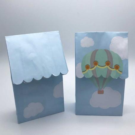 2 st godispåsar i ljusblått med mintgröna luftballonger