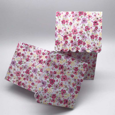 Blommiga godispåsar i rosa