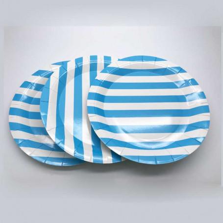Tallrikar gjorda av papper, med blå och vita ränder.