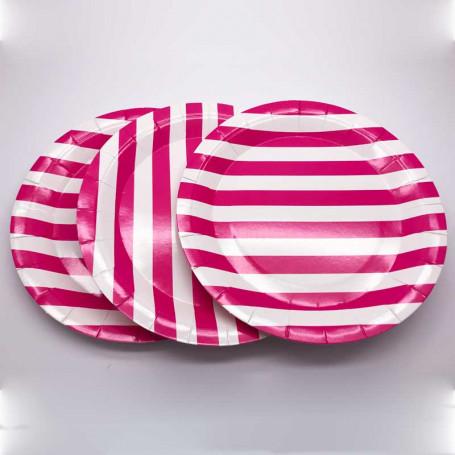 Papperstallrikar med rosa och vita ränder.