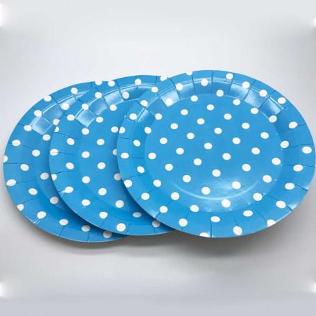 blå tallrikar av papper med vita prickar.