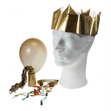 partyset i guld  NYÅR   rulle serpentiner  blåsutrulle  ballong - partypopper  partyhatt