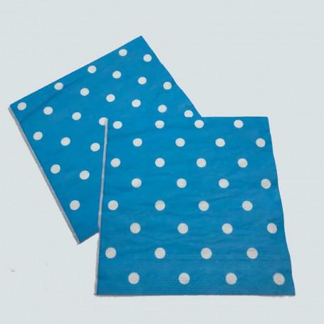 2 st Blå pappersservetter med vita prickar på.
