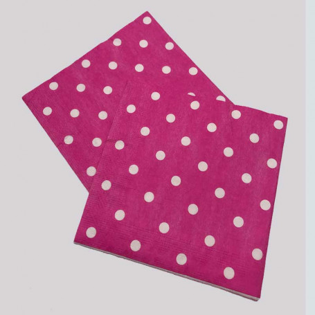2 st Rosa servetter med vita prickar, i papper.