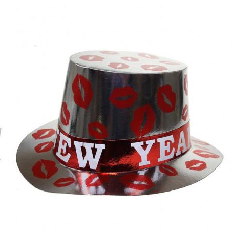 tophat i silver med röda läppar och texten happy new year