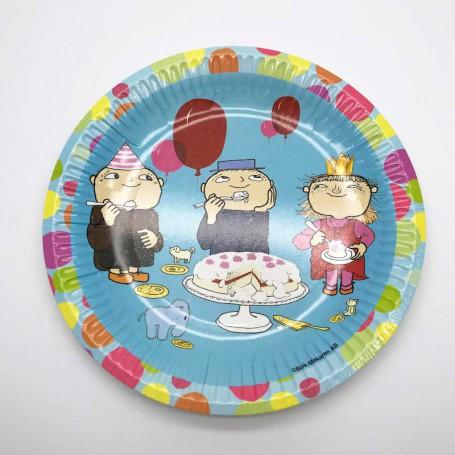 Blå tallrik med Alfons Åberg, Viktor och Milla som sitter och äter tårta.