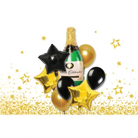 Ballongkit champagne champagneflaska stjärnor guld svarta latex folieballong