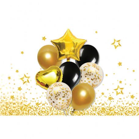 Kit med ballonger i guld & svart, samt konfettiballonger