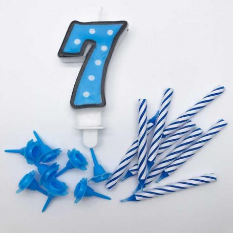 Sifferljus Blå Nr 7 med ljus och hållare