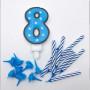 Sifferljus Blå Nr 8 med ljus och hållare