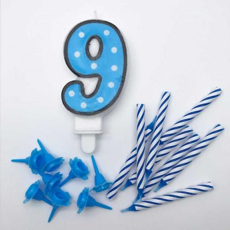 Sifferljus Blå Nr 9 med ljus och hållare