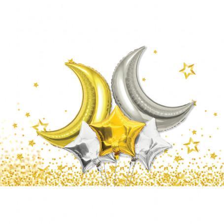 Dekorativa folieballonger som månar och stjärnor