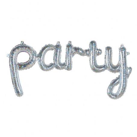 glittrig folieballong party silver text födelsedag student