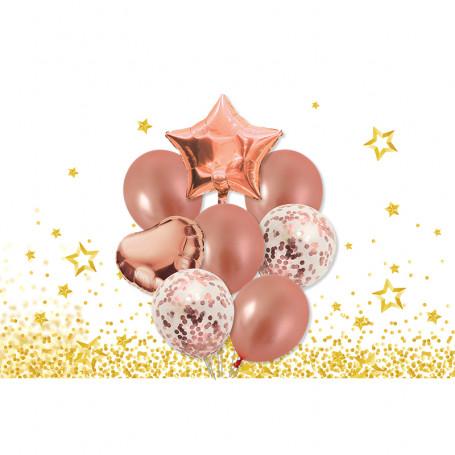 Roséfärgat ballongkit rosa stjärn hjärta konfettiballonger helium latex vita folieballonger fest födelsedag rosa tema princess