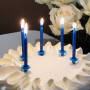 Tårtljus Glitter Blå med hållare