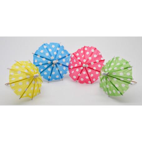 Drinkparaplyer i papper i rött, blått & grönt och gult.