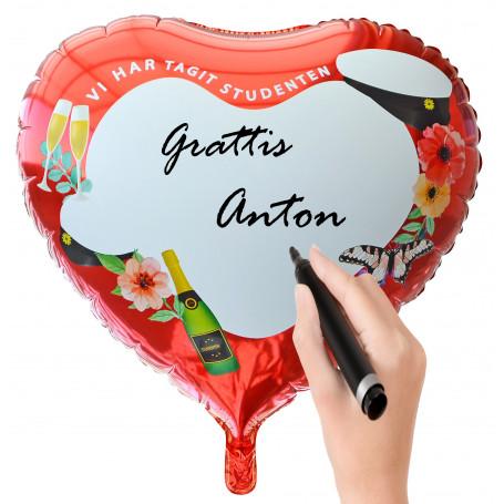 Stor folieballong man kan skriva namnet på studenten med penna