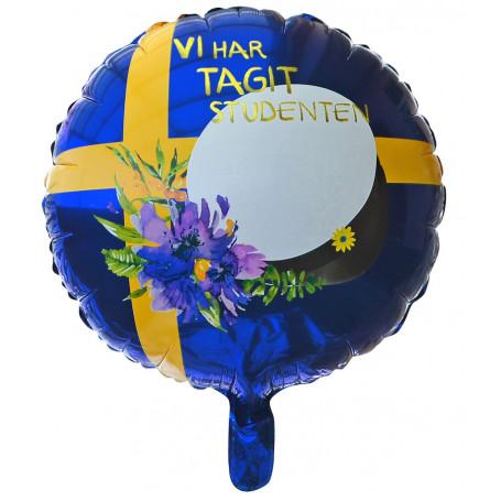 Blå studentballong med studentmössa