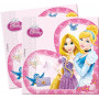 Rosa pappersservetter med med Askungen och Rapunzel.