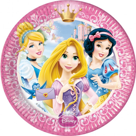 Rosa tallrik med Aksungen, Rapunzel och Snövit.