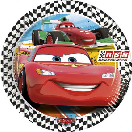 Tallrik med blixten McQueen från Cars på. svart/vit bård runtom tallriken.