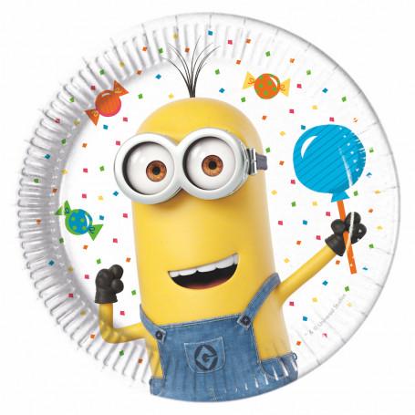 Vit tallrik av papper med figuren Kevin från Minions som håller in en ballong.