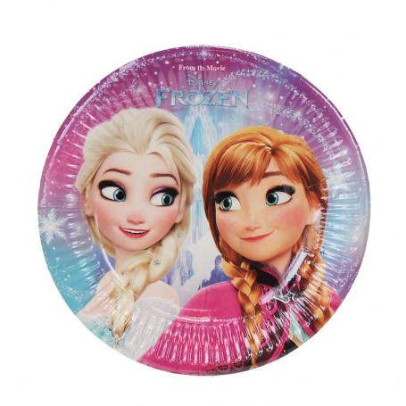 Rosa-ljusblå tallrik med Prinsessorna Elsa och Anna från filmen Frost (frozen).