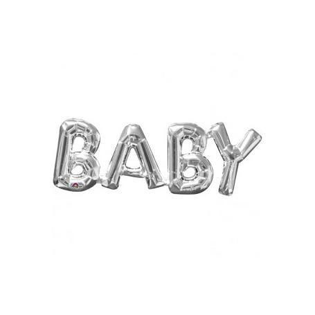 "Folieballong i silver ""BABY"""