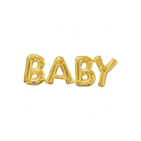 Guld folieballong med texten BABY